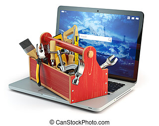 Online support. Laptop and toolbox with tool isolated on white background. Laptop repair concept