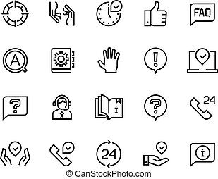 Online support line icons. Service customer help information chat call assist info user manual guide. Customers support vector set