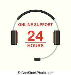 Online support service concept, headphone and text