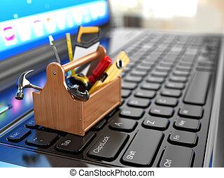 online, support., szerszámosláda, noha, eszközök, képben látható, laptop.