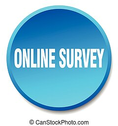 online survey blue round flat isolated push button