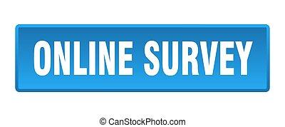 online survey button. online survey square blue push button