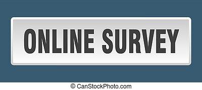 online survey button. online survey square white push button