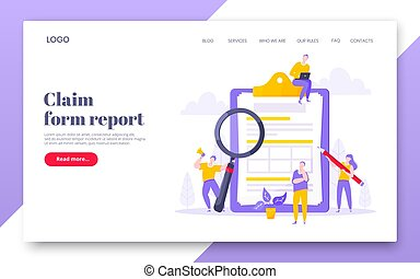 Online survey form business concept with tiny people with megaphone, pencil nearby giant clipboard claim form and flat style design vector illustration landing page template.