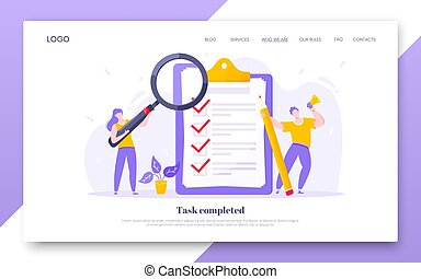 Online survey form business concept with tiny people with megaphone, pencil nearby giant clipboard complete checklist and check mark ticks flat style design vector illustration landing page template.
