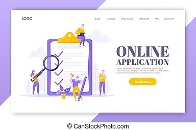 Online survey form business concept with tiny person with megaphone, pencil nearby giant clipboard complete checklist and check mark ticks flat style design vector illustration landing page template.