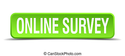 online survey green 3d realistic square isolated button