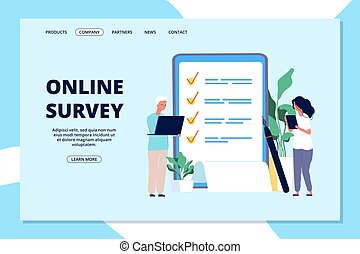 Online survey landing page. Choice list, quality questionnaire. People answering question, business internet marketing vector web banner