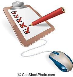 A mouse connected to a survey questionnaire. Concept for online internet survey, test, census, election or research questionnaire.