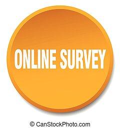 online survey orange round flat isolated push button
