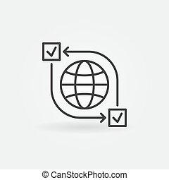 Online survey outline vector concept icon