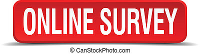 online survey red 3d square button isolated on white