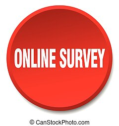 online survey red round flat isolated push button