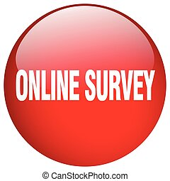 online survey red round gel isolated push button