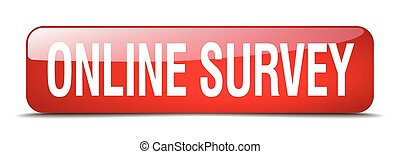 online survey red square 3d realistic isolated web button