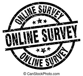 online survey round grunge black stamp