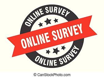 online survey sign. online survey black-red round ribbon sticker