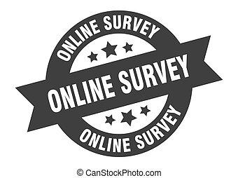 online survey sign. online survey black round ribbon sticker