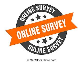 online survey sign. online survey orange-black round ribbon sticker