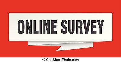 online survey sign. online survey paper origami speech...