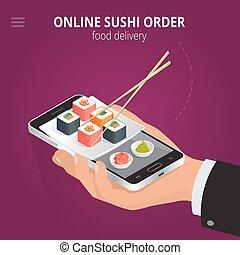 Online sushi. Ecommerce concept order food online website. Fast food sushi delivery online service. Flat 3d isometric vector illustration.