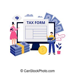 Online tax consultation with people filling form, vector illustration isolated.