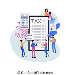 Online tax service poster - cartoon people surrounding giant smartphone screen