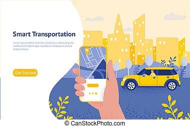 Online taxi order mobile application concept, smart city transportation.