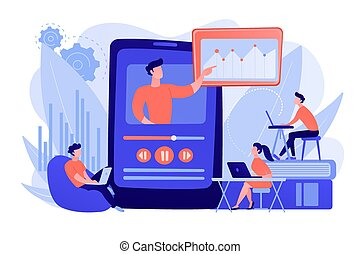 Online teaching concept vector illustration.