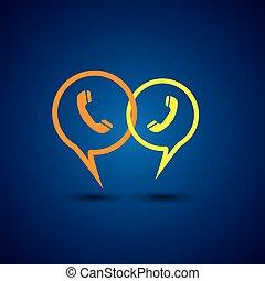 online, telefon, vektor, linie, -, ikone, unterstuetzung, ...