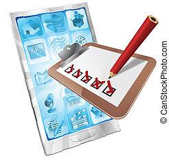 online, telefoon, onderzoeken; inspecteren;, klembord, concept, app