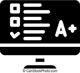 online test glyph icon vector black illustration