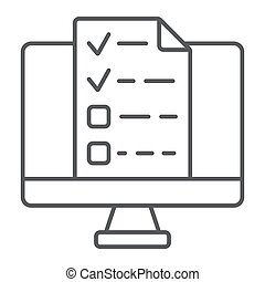 Online tests thin line icon, e learning and education, exam sign vector graphics, a linear pattern on a white background, eps 10.
