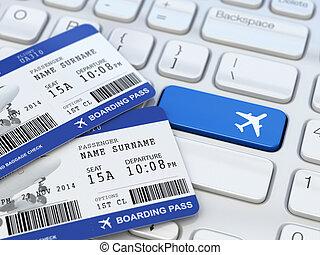 Online ticket booking. Boarding pass on laptop keyboard. 3d