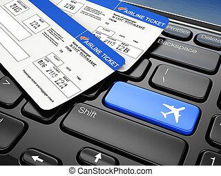 online, tickets., 3d, vliegtuig, boeking