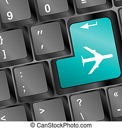 Online tickets key on the keyboard with airplane