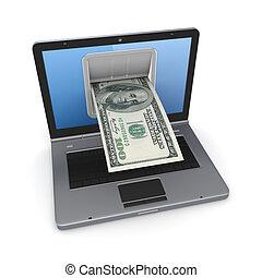online, tiszteletdíj, concept.