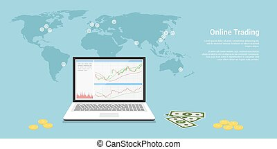 online trading banner - flat style web banner on stock...