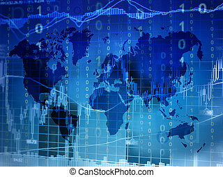 online trading concept with world map background