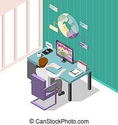Online Trading Isometric Background