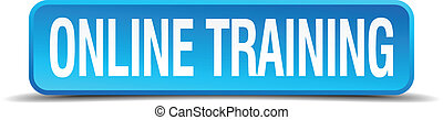 online training blue 3d realistic square isolated button
