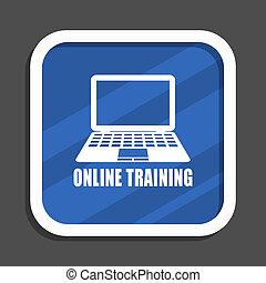 Online training blue flat design square web icon