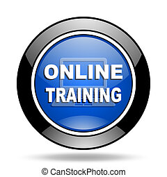 online training blue glossy icon