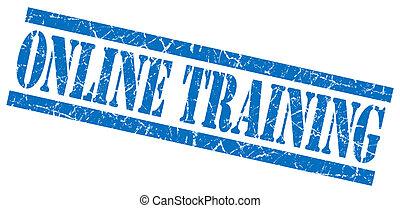 online training blue grunge stamp isolated on white