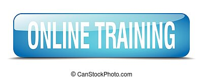 online training blue square 3d realistic isolated web button