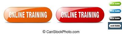 online training button. key. sign. push button set