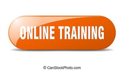 online training button. online training sign. key. push button.