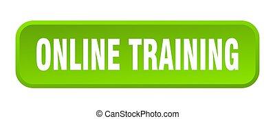 online training button. online training square 3d push button
