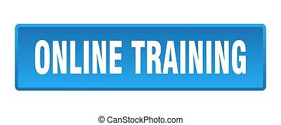 online training button. online training square blue push button
