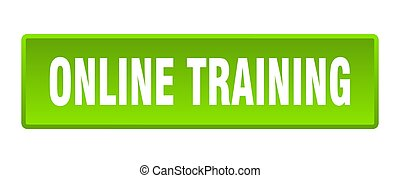 online training button. online training square green push button
